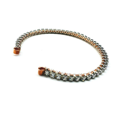 Copper Silver Crystal Rhinestone Wire Wrapped  Bangle - LocalWe