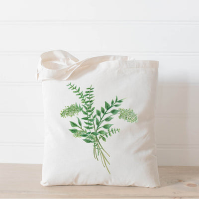 Picture of a canvas tote bag with a watercolor painting of a eucalyptus bunch | Made in New Jersey | LocalWe