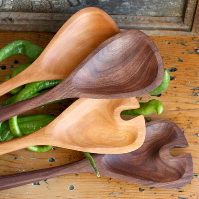 Hand Carved Wood Salad Server Set - LocalWe