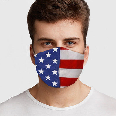 Man wearing a USA Made American Flag Face Mask