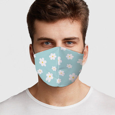 Man wearing a USA Made Blue Flowers Face Mask