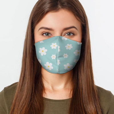 Woman wearing a USA Made Blue Flowers Face Mask