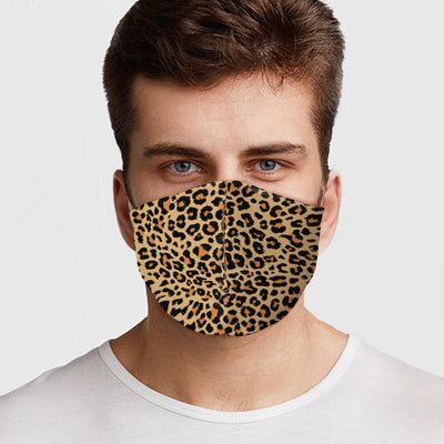 Man wearing USA made Cheetah pattern face mask