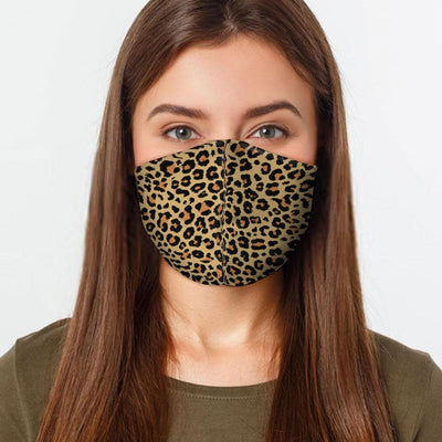Woman wearing USA made Cheetah pattern face mask
