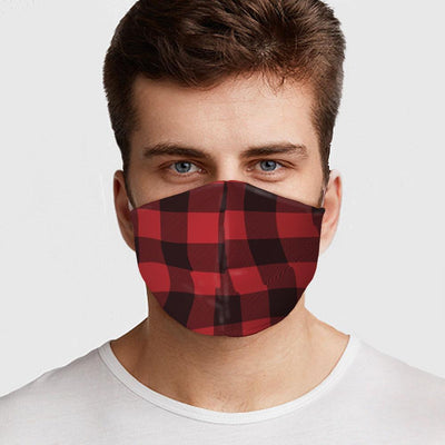 Man wearing USA Made Red Flannel Face Mask