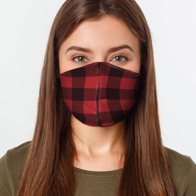 Woman wearing USA Made Red Flannel Face Mask