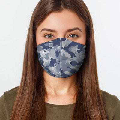 Woman wearing a USA Made Blue Camo Face Mask