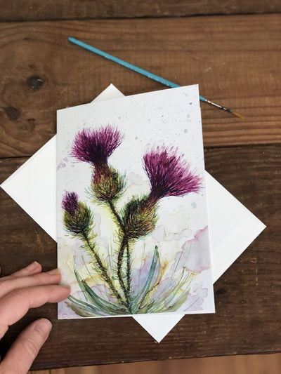 Greeting card with a thistle flower painting on it | Made in North Carolina | LocalWe