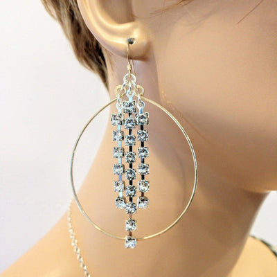 Oval Hoop Crystal Chain Gold Filled Earrings