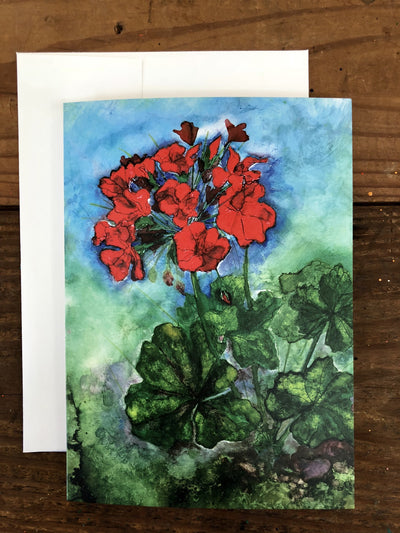 Greeting card with geraniums painted on it | Made in North Carolina | LocalWe