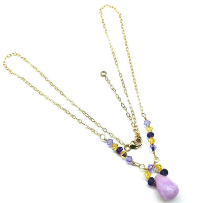 Lavender Pink Candy Jade Drop Gold Filled Necklace