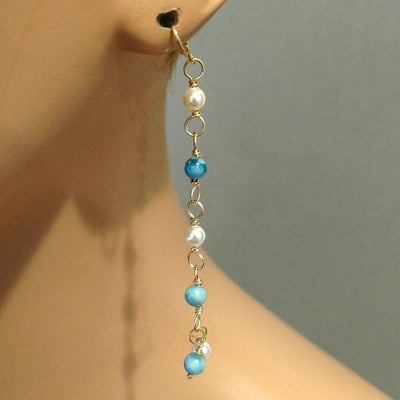 Turquoise Pearl Wire Wrapped Long Gold Filled Dangle Earrings