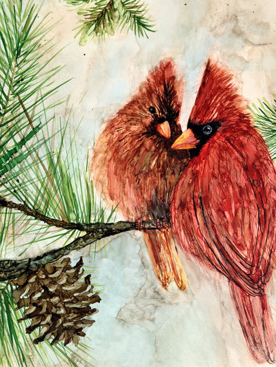 Cardinal Lovebirds prints, recreation of original painting of two cardinals perched in a pine tree; crafted in NC | LocalWe