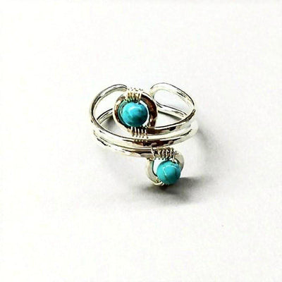 Sterling Silver Turquoise Wire Wrap Finger Toe Ring