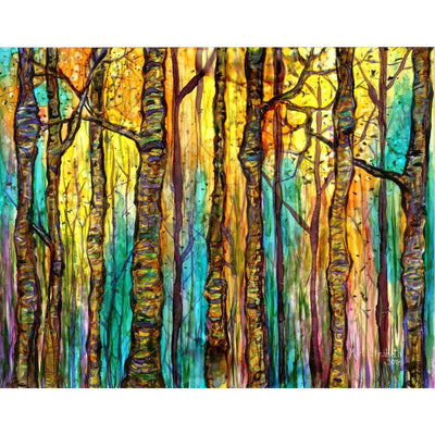 Blue forest print showing forest of tall trees against blue sky drenched in golden sunlight; made in NC | LocalWe