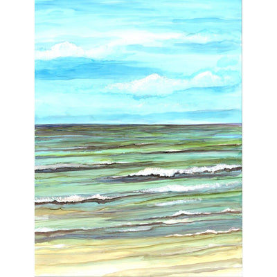 Original Calm Seas print depicts soothing ocean view painted in varying shades of blue and green; made in NC | LocalWe