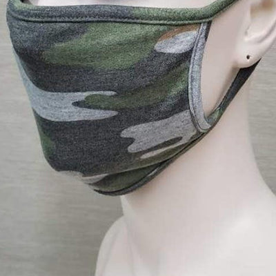 Left side view of USA Made Camo Cotton Face Mask on mannequin