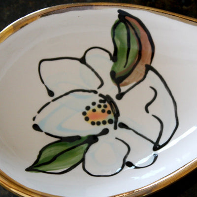 Ceramic Magnolia Spoon Rest