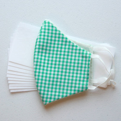 American Made Cotton Face Mask with Disposable Filters and Green Gingham Design Side View