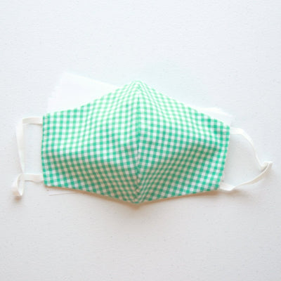 American Made Cotton Face Mask with Disposable Filters and Green Gingham Design