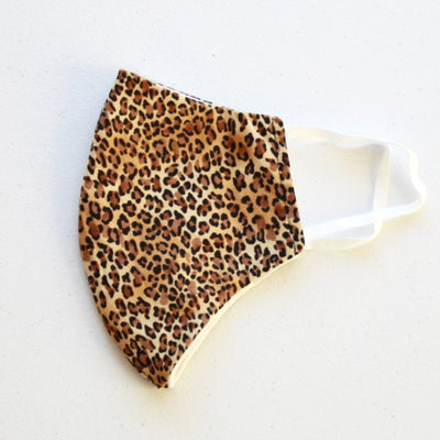 American Made Leopard Cotton Face Mask with Filters Side View