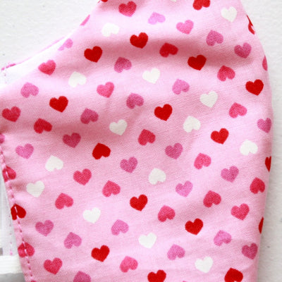 American Made Cotton Face Mask for Kids with Pink Hearts Design Close Up