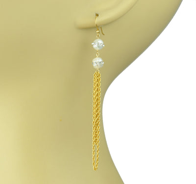 Double White Pearl Statement Earrings