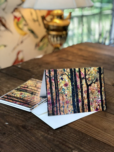 Greeting cards with a painting of a dreamy colorful forest | Painted in NC | LocalWe