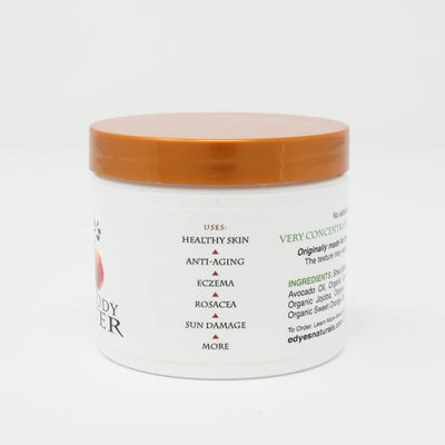 Side view of jar of Edye's Naturals Face & Body Butter Organic Skincare