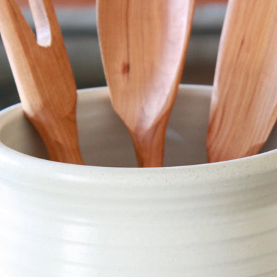 A close up of a farmhouse large utensil holder handmade in Cambridge Wisconsin.
