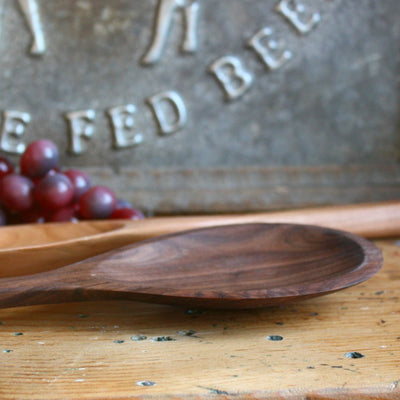 Hand Carved Wood Pot Spoon