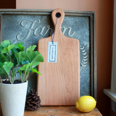 Hardwood Serving Board with Handle handmade from Cherry wood in Nashville, TN.