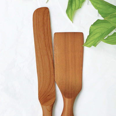 Handmade Wood Cake Server Set