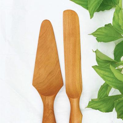 Handmade Wood Pie Server Set