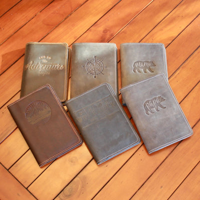 Six handcrafted leather journals embossed with inspirational quotes; made in AZ | LocalWe