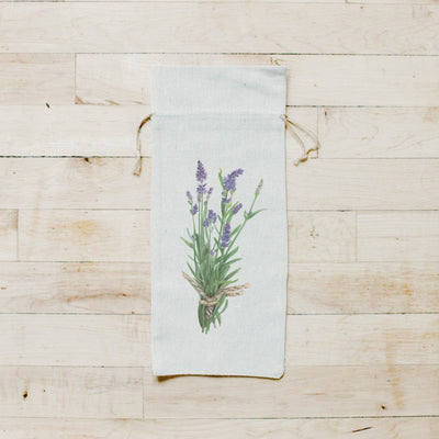 Photo of a tan wine bottle bag on the bag is a watercolor image a lavender plant | Made in New Jersey| LocalWe