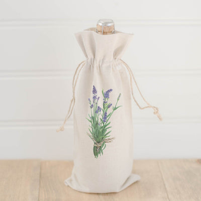 Photo of a tan wine bottle bag on a bottle of wine, on the bag is a watercolor image a lavender plant | Made in New Jersey| LocalWe
