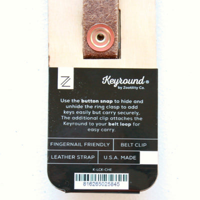 American Made Leather Keychain Package Back Closup