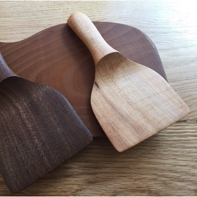 Picture of  two handmade short wood spatulas with a flat edges carved by a local Arkansas artisan | Shop Local AR