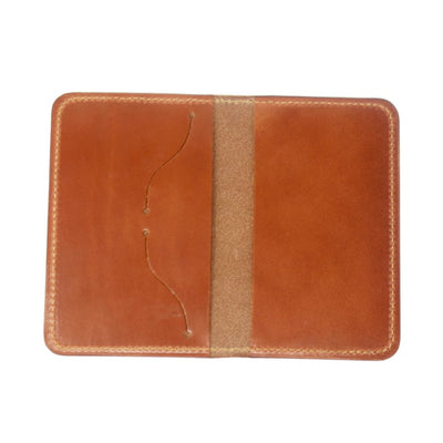 Opened handcrafted leather passport cover in tan | Made in AZ | LocalWe