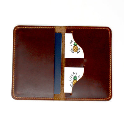 "Inside of a Handcrafted Leather Passport Cover Embossed with ""Not All Those Who Wander are Lost"" 