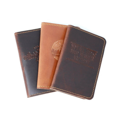 Three handcrafted leather passport covers in different colors | Made in AZ | LocalWe