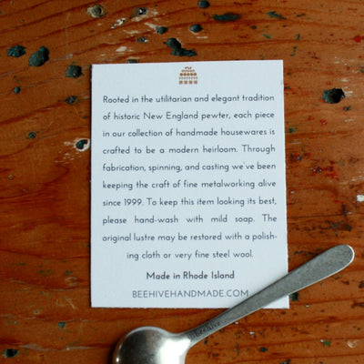 View of card for pewter salt cellar and spoon hand cast by artisans. Shop Local Rhode Island.