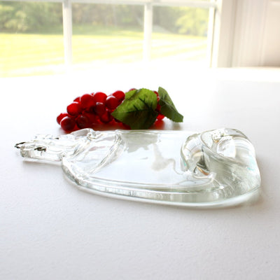 Upcycled Moonshine Bottle Cheese Board in Clear Glass Side View