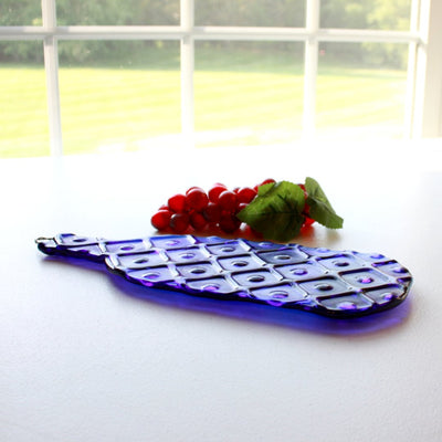 American Made Upcycled Wine Bottle Cheese Board in Cobalt Blue Glass Side View