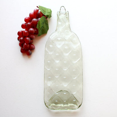 American Made Upcycled Wine Bottle Cheese Board in Clear Glass with Squares Design