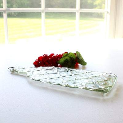 American Made Upcycled Wine Bottle Cheese Board in Clear Glass Side View