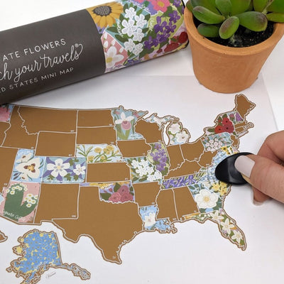 Scratch Map - USA Map with State Flowers