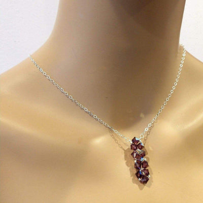 Sterling Silver Vertical Beaded Crystal Bar Necklace