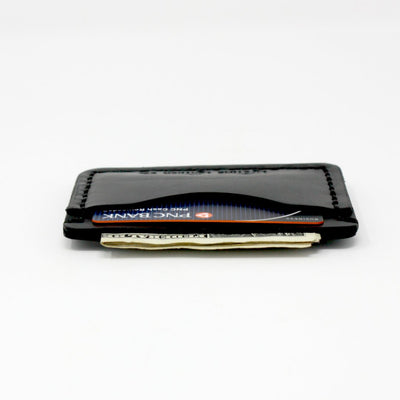 Sideview of a Handcrafted Black Leather Wallet, Slim for Front Pocket, Made in AZ | LocalWe